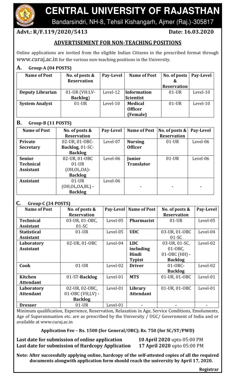 Non-Teaching Positions Advertisement No. 5413 dated 16.03.2020 (2)-3