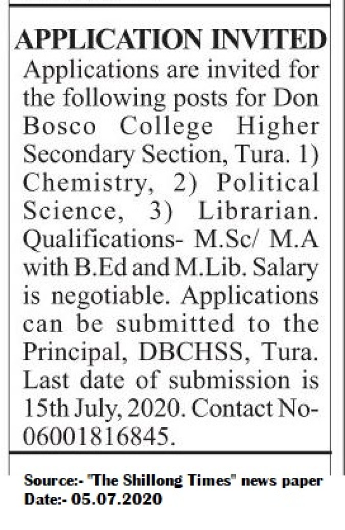 Don-Bosco-College-Tura-Recruitment-2020-Teaching-positions-Librarian