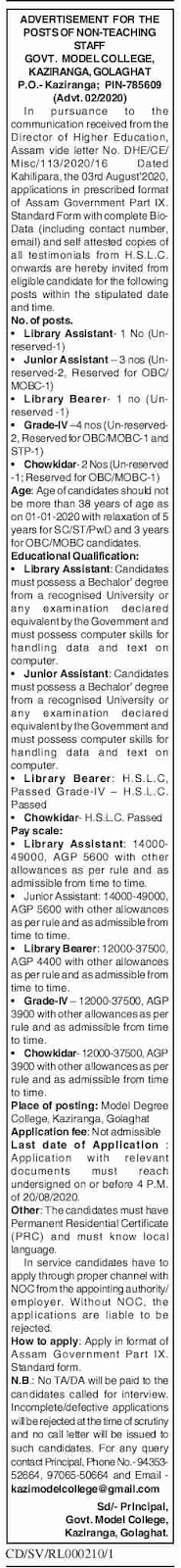 Kaziranga-Model-College-Jobs