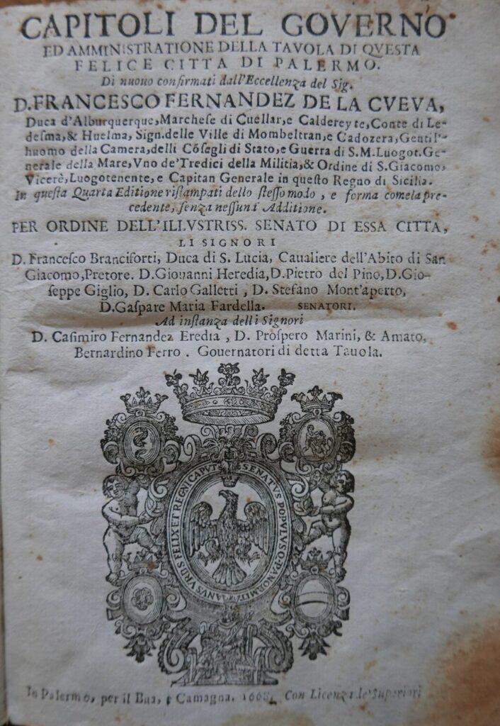 Capitoli del Governo della Tavola di Palermo - 1668
