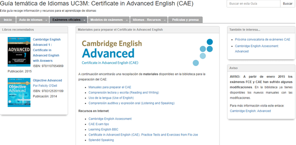 Cambridge English Advanced en la Guía temática de idiomas