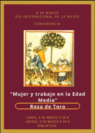 Cartel conferencia Rosa de Toro