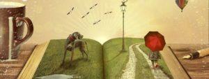 En bok där solen strålar ifrån. En hund och en person med rött paraply står i boken. Likaså en gatlykta.