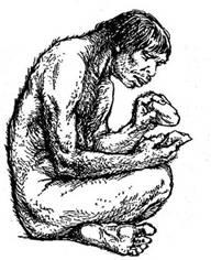 Первобытные люди Вечные темы Тело их покрывала шерсть челюсти выступали вперёд а подбородок был скошен назад Первобытные люди уже ходили на двух ногах