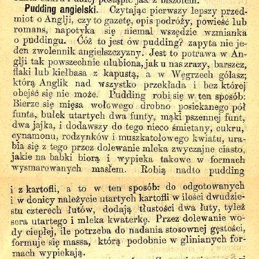 Przepis z XIXw na pudding angielski