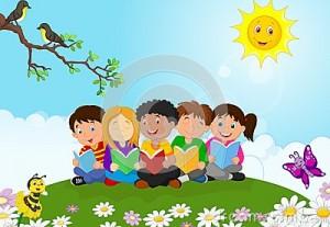 bande-dessine-heureuse-d-enfants-se-reposant-sur-l-herbe-tandis-que-livres-de-lecture-50763600