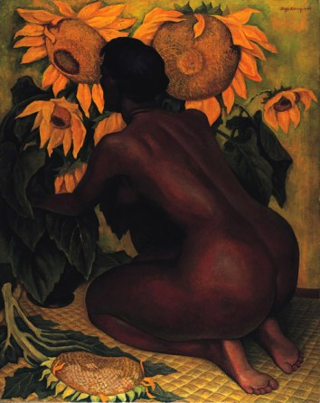 Diego Rivera- Kneeling Woman with Sunflowers (1946)