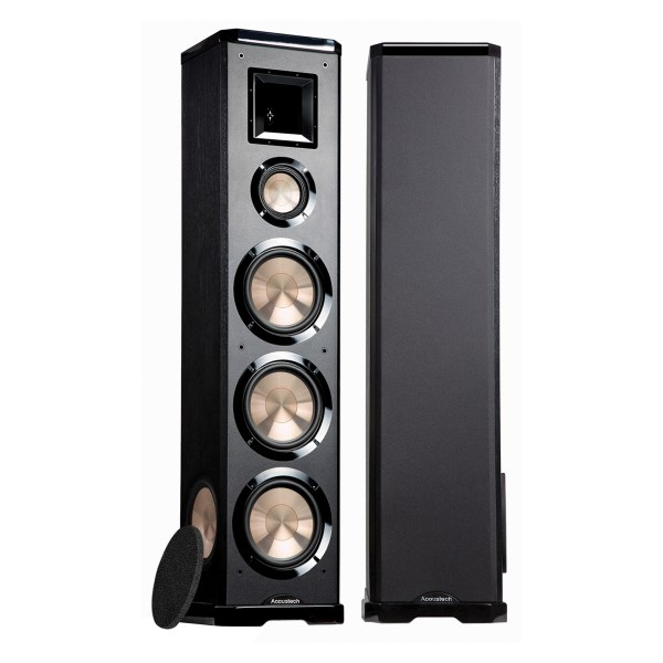 """Acoustech PL-980 Left & Right - 750W 3-Way Tower Speaker w/Lacquer, Dual Active 8"""" Woofers, Dual Passive 8"""" Woofers, 5"""" Mid & 6 1/2"""" Horn Tweeter front"""