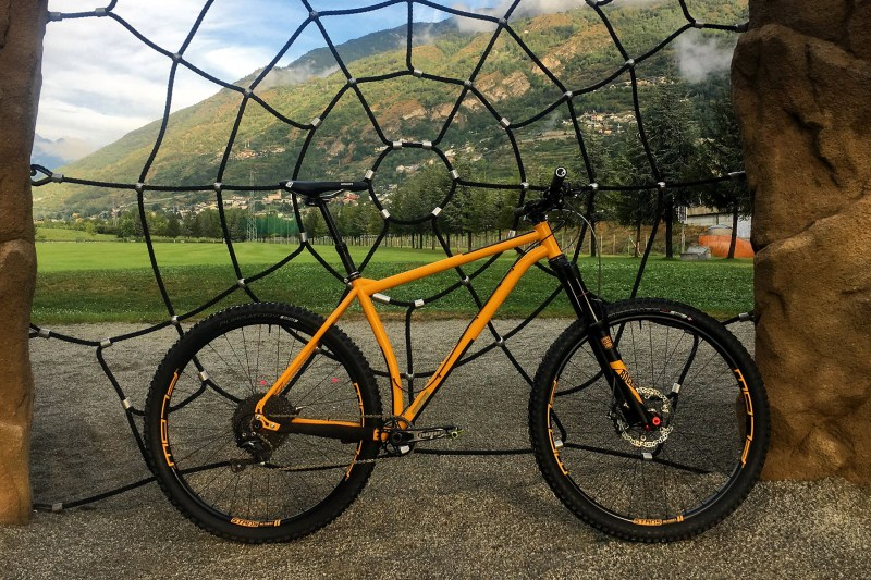 Custom Steel hardtail Enduro Frame with short chainstay,flow, rockshox and hope