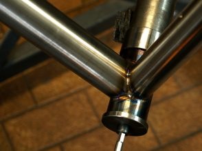 bottom bracket shell tig welding for a bespoke bicycle frame