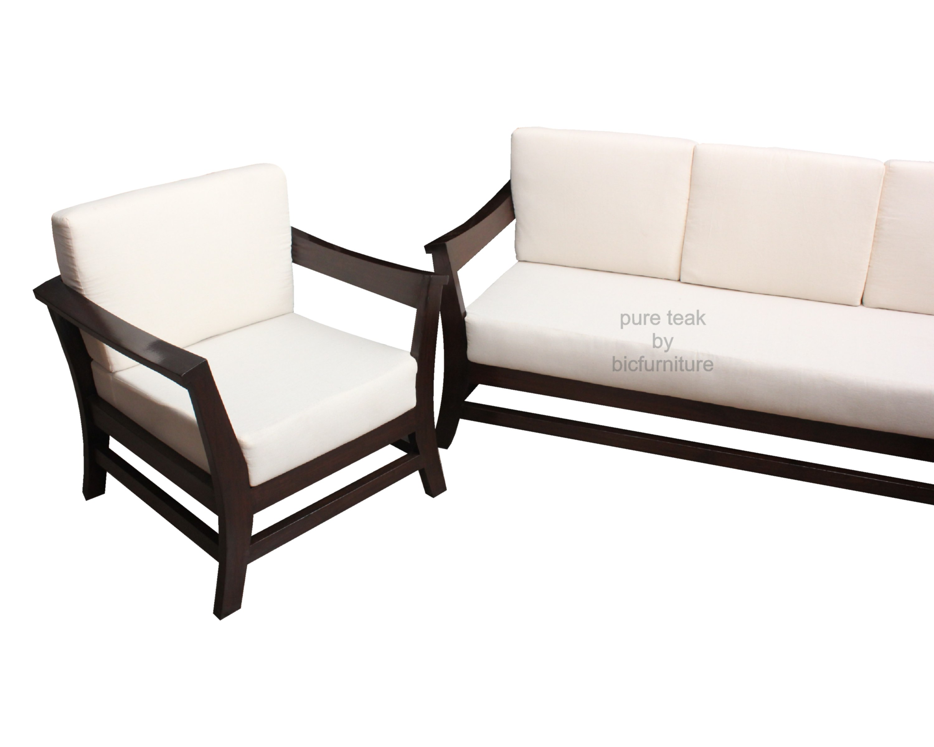 Comfortable Sofa Set in teakwood with lose cushions