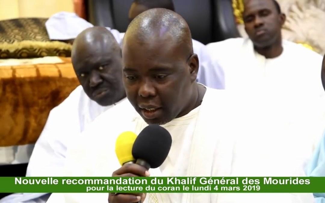 Urgent: Recommendation du Khalif Général des Mourides pour la lecture du coran le lundi 4 Mars