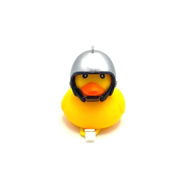 Timbre de bici – Pato con casco en color plata con luz