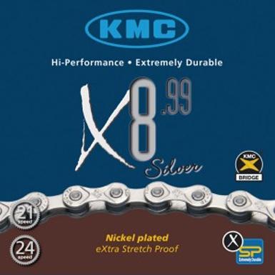 KMC X 8-99 Color Plateado Cadena para Bicicletas