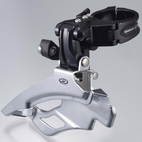 MENJAČ PREDNJI SHIMANO DEORE FD-M591, TRIPLE, 9 BRZINA, DOWN SWING, DUAL PULL, BAND TYPE 34.9MM (W/ADAPTOR 31.8MM & 28.6MM, FOR 44/48T, CS ANGLE 66-69, IND.PACK