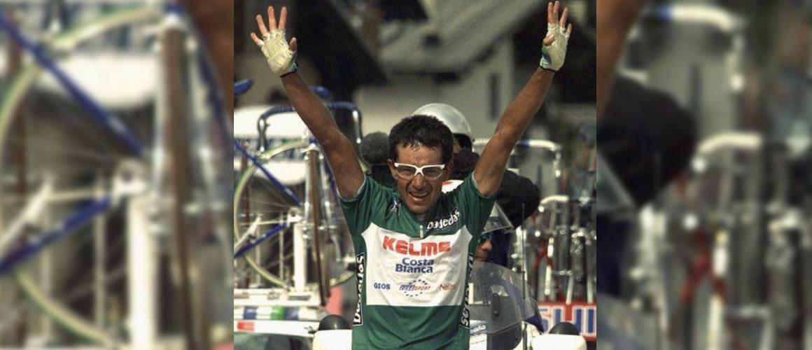 Chepe Gonzalez in maglia verde come miglior scalatore del Giro d'Italia.