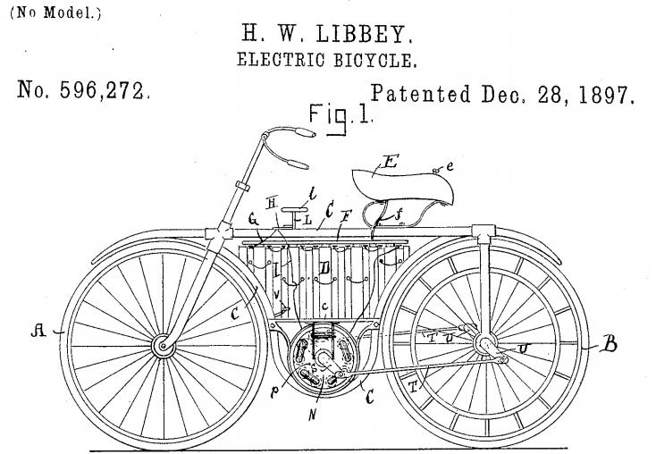 Il brevetto della bici elettrica di Hoshea W. Libbey, datato 28 dicembre 1897 (EvansCycles).