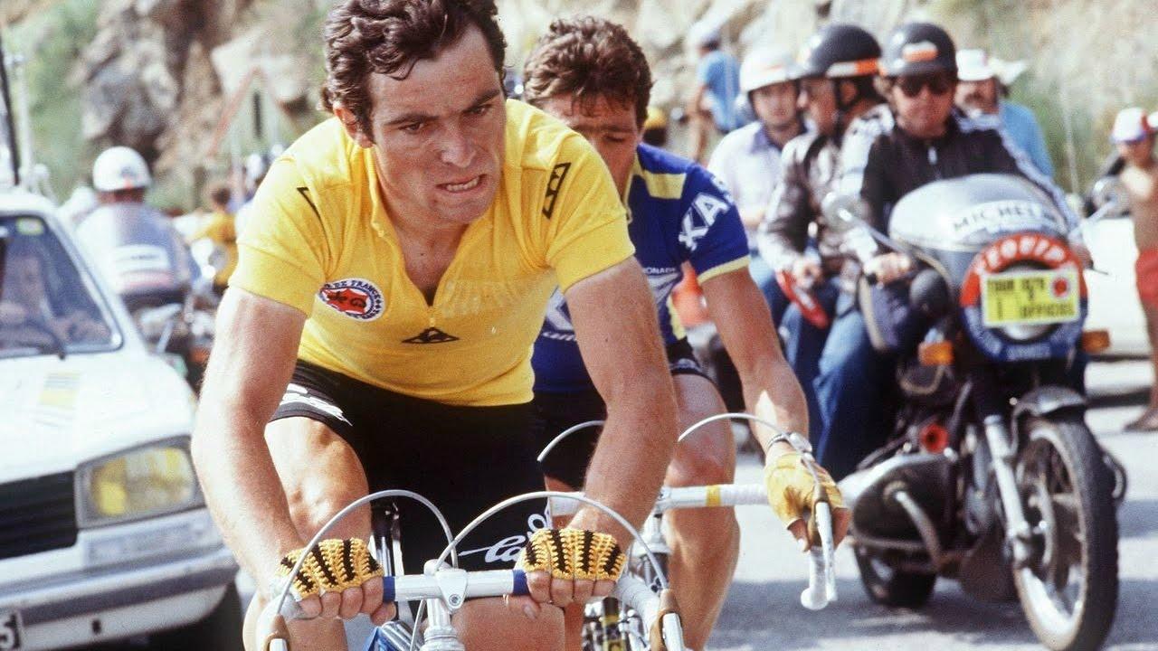 Bernard Hinault in maglia gialla al Tour de France (YouTube)