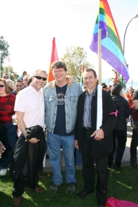 W/Pumpjack owner Steve Bauer & Peter Ladner at gay rally