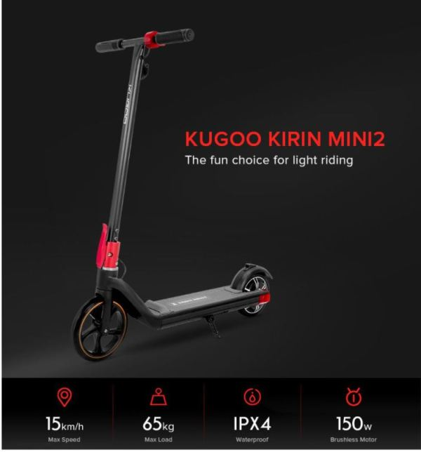 Kugoo Kirin Mini 2 Kids and Children Electric Scooter- 15kmh - 65kg - IPX4 - 150w Brushless Motor - Sale In Bicycle Land