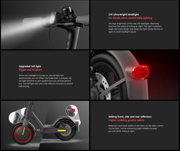 Xiaomi Mi2 Pro Electric Scooter Pro 2- Black - Front-Rear-Double Brakes-Taillight-Side Light- 2W Front Light-Rear Light - Sale In Bicycle Land