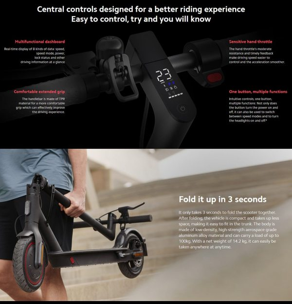 Xiaomi Mi2 Pro Electric Scooter Pro 2- Multi-funtion LCD Dashboard - Displays Real Time Trip Stats - Black- Sale In Bicycle Land