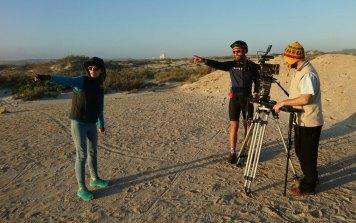 Karien directing proceedings for the Kleinzee film shoot. Photo by Seamus Allardice.