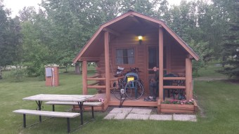 The campground in Indian Head offered us a cabin for the price of a tent site. Good thing because it started pouring shortly after we got there