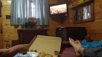 Pizza, movie and a bed; Doesn't get much better than that