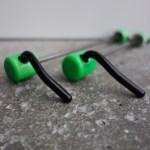 Kingsbery vintage mountain bike wheel quick releases in neon green
