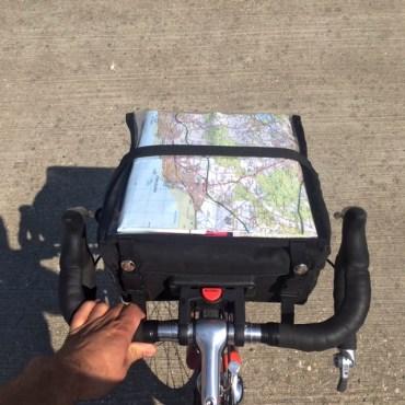 Vintage bike S48O - bar bag with real maps