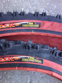 "NOS IRC Mythos XC vintage 26"" MTB tyres with rust coloured side wall - 1.95"