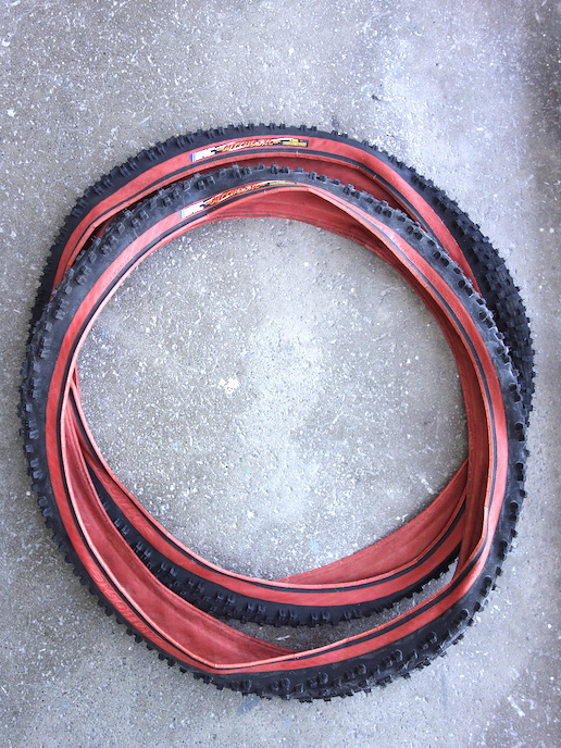 """NOS IRC Mythos XC vintage 26"""" MTB tyres with rust coloured side wall - 1.95"""