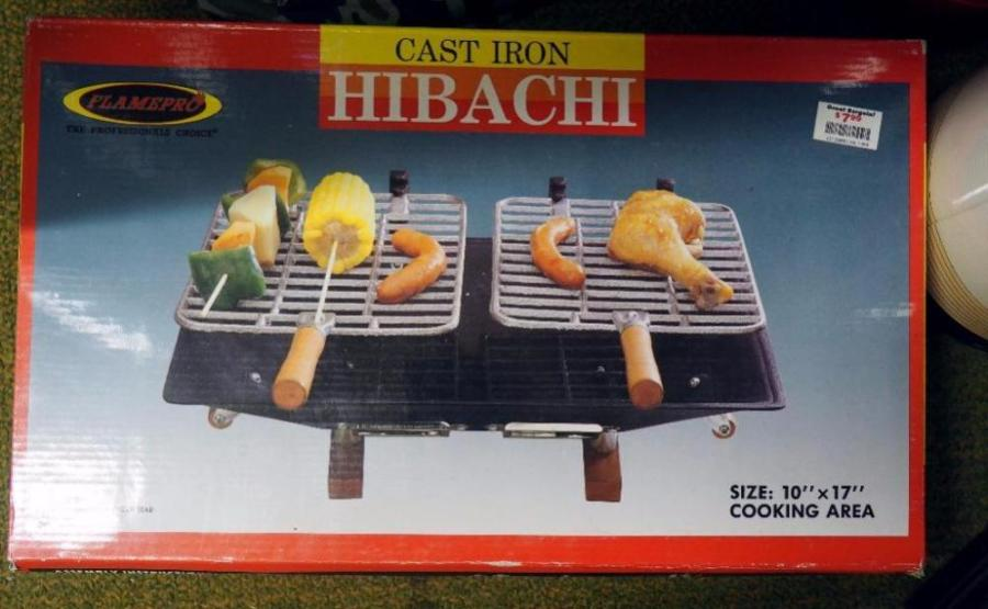 Cast Iron Hibachi Grill  Grasshopper Single Burner Propane Stove in     Lot 73 of 372  Cast Iron Hibachi Grill  Grasshopper Single Burner Propane  Stove in Bag  Water Jugs  BBQ Pro Ceramic Gas Grill Briquettes  More  Some  NIB