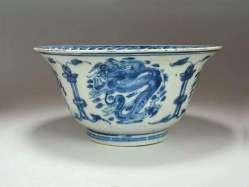Ming Dragon Bowl in under-glaze blue