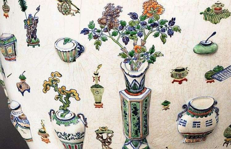 Chinese 19th C. Famille Verte Fish Bowl ,detail