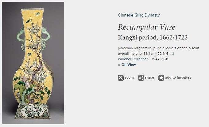 Rectangular Kangxi Famille Jaune-Verte Vase
