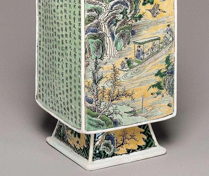 Chinese Kangxi Famille Verte Vase, detail