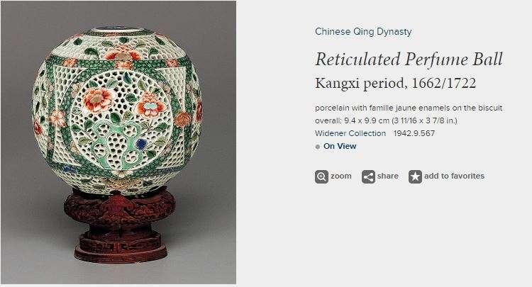 Chinese Kangxi Famille Verte Perfume Ball
