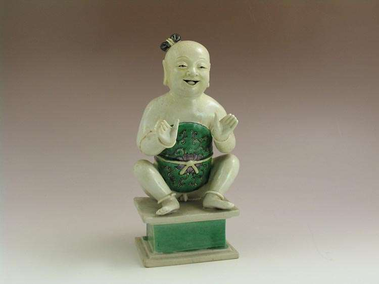 18th C. Chinese Famille Verte Kangxi Ho Ho Boy