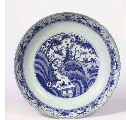 Jiajing Plate with Crane Decoration