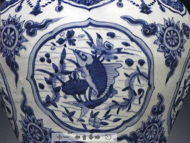 detail of ming jiajing fish jar