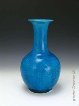 Chinese Incised Blue glaze vase
