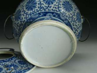 19th C. Chinese Blue and White Hot Pot