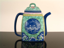 Yixing enamel teapot with spotted deer