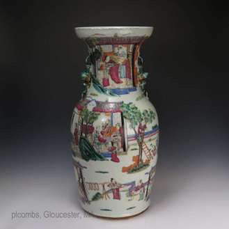 19th C. Rose Mandarin Chinese vase