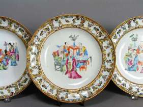 19th C. Chinese Rose Mandarin Plates