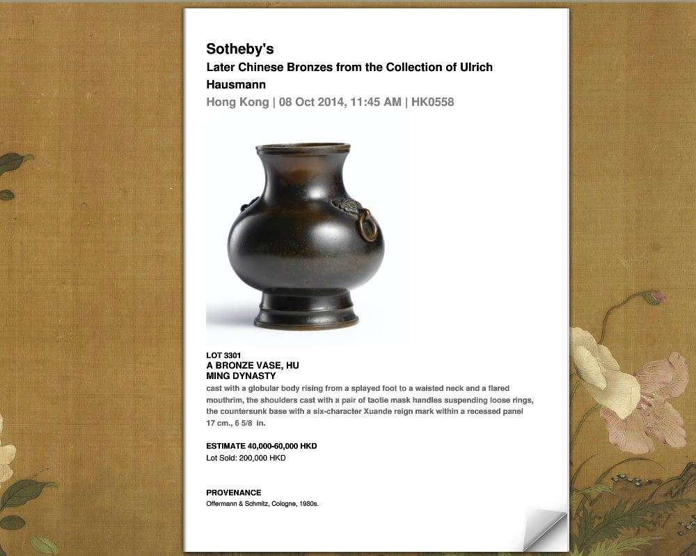 Auction results Ming Qing bronzes