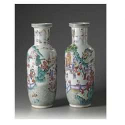 Large pair of 19th C. Famille Rose Mallet Vases