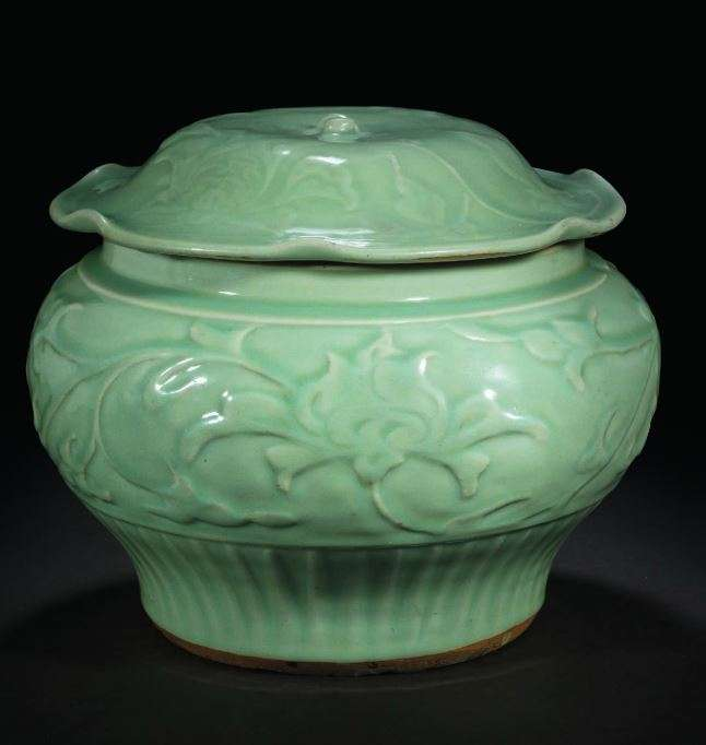 LONGQUAN CELADON CARVED JAR AND COVER YUAN DYNASTY, 14